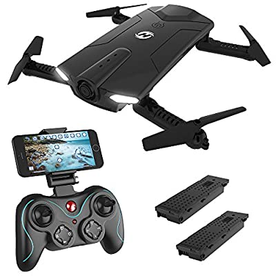 Holy Stone HS160 Foldable Drone with 720P HD Wi-Fi FPV Camera Live Video for Adults Kids Beginner, RC Quadcopter for Xmas with 2 Batteries, Carrying Bag, Altitude Hold, Easy Toys for Holiday Birthday