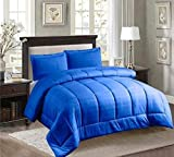 Down Substitute 3 Piece Bed in A Bag Embossed Comforter Sham Set Twin, Full, Queen, King Sizes. (Royal Blue, Twin)