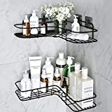 MOIGIN 2-Pack Corner Shower Caddy, Adhesive Bath Shelf with Hooks (Black 1)
