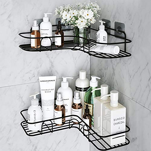 MOIGIN 2-Pack Corner Shower Caddy, Shower Shelf with 8 Pack Powerful Adhesive Hooks, Bathroom Shower Organizer Storage for Toilet, Kitchen and Dorm.