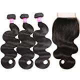 VRBest Hair Brazilian Body Wave Virgin Hair with Closure 3 Bundles with Lace Closure Free Part 10A 100% Unprocessed Human Hair Bundles Weave Extensions Natural Black Color Remy Hair(12 14 16 + 10)