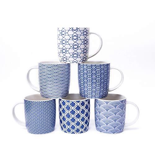 6er Set Kaffeebecher mit schwarz-weißem geometrischen Muster, Keramik Teetassen-Set 6er Pack (schwarze Tasse-Set) (Blau set of 6)