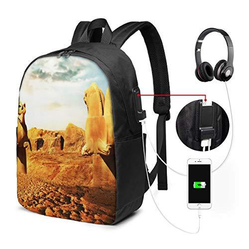 """WEQDUJG Mochila Portatil 17"""" Pulgadas Mochila Hombre Mujer con Puerto USB, Esculturas persas Grifos Mochila para El Laptop para Ordenador del Trabajo Viaje"""