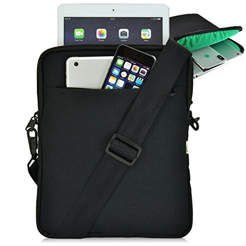 Turtleback Universal Tablet Pouch Shoulder Bag, Fits Devices 10.5' with Cases for Apple iPad Pro and Others, Made in The USA, Black/Green