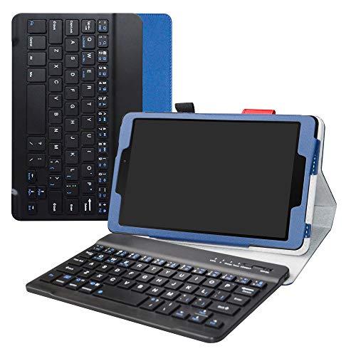 Labanema Galaxy Tab A 8.0 2019 Teclado Funda, PU Estuche con Wireless Teclado Cover QWERTY para 8.0' Samsung Galaxy Tab A 8.0 SM-P200 /P205 2019 Tablet - Azul