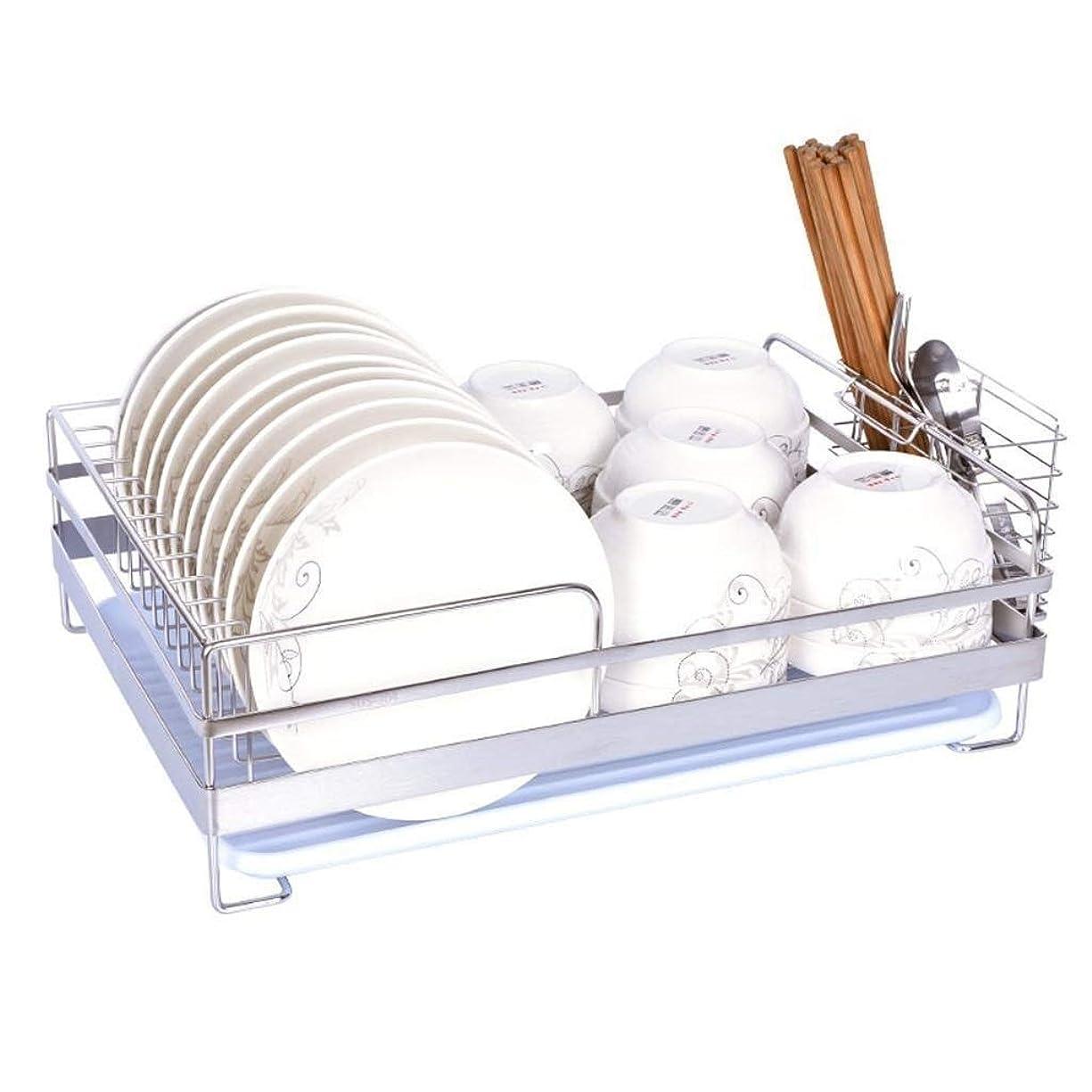 感謝する故意のペイントチュアンロン 単層の贅沢なステンレス鋼のさび止めの台所食器洗い機の乾燥の棚、点滴トレイが付いているボール/皿/コップの収納ラック