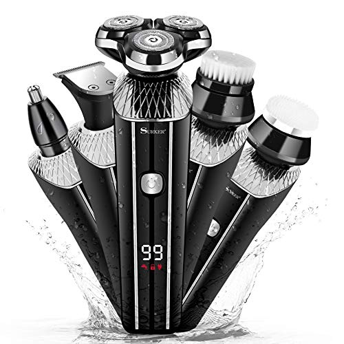 Surker Electric Razor for Men 5 in 1 Rotary Shavers Beard Trimmer Wet and Dry Electric Shaver Nose Trimmer Cordless Waterproof USB Charging