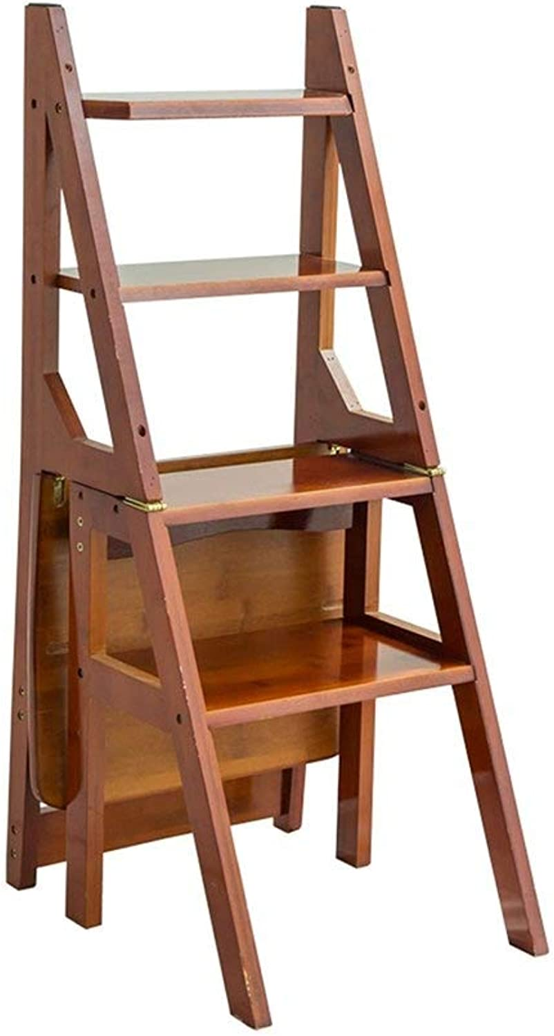 SCBED Multifunctional folding ladder for home, retro creative four-step chair, thick bamboo staircase for indoor staircase (3 colors) (color   B)