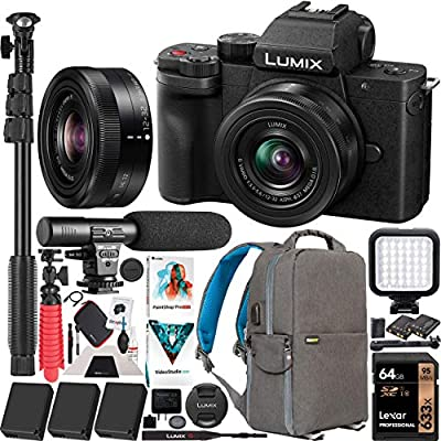 Panasonic DC-G100KK LUMIX G100 Mirrorless 4K Vlogging Camera with 12-32mm F3.5-5.6 Lens 3 Battery Bundle Deco Gear Backpack + Photo Video LED + Microphone + Monopod + 64GB Software Kit & Accessories by Panasonic