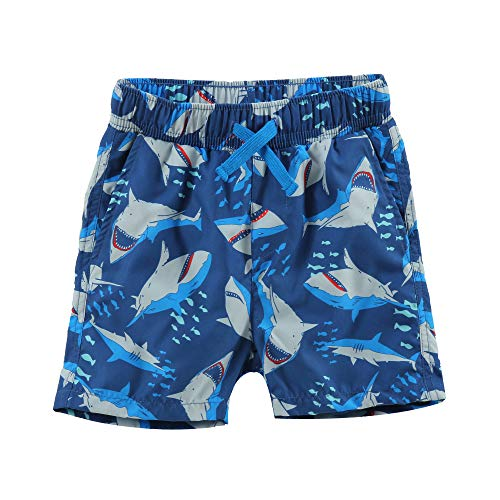LACOFIA Kinder Badeshorts Jungen Casual Elastische Taille Badehose Kleinkind Strand Schwimmen Shorts Marineblau 7-8 Jahre