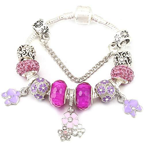 Pulsera Brazalete, Joyeria Regalo, Vintage Silver Plated Crystal Fine Bracelet For Wome Fit Snake Chain Charm Bracelet DIY Jewelry Gift C004 16cm
