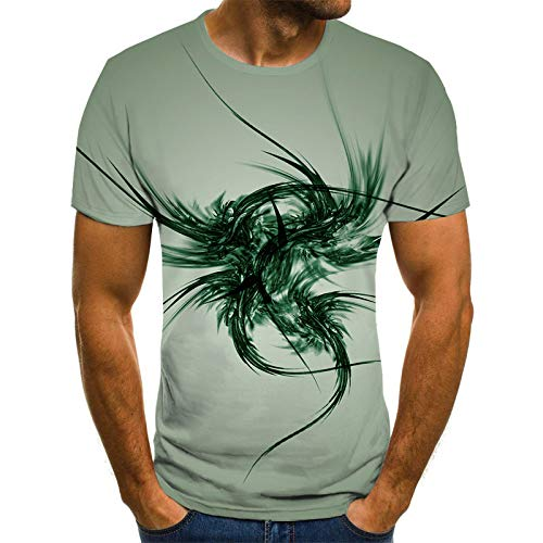 Camiseta Unisex,Creatividad 3D Impreso Manga Corta, Verde Oscuro Flor Diablo Hombre Mujer Camisetas, Verano Casual Ligero Tops Blusa Tee Hip Hop,Para Tour,Campamento, Fiesta Temática, Ropa De Calle,
