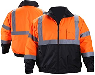 FONIRRA Hi-Viz Safety Jacket for Men with Reflective Liner,Waterproof 100% Polyester ANSI Class 3 Full Zipper Bomber Work Jacket Hoodie(Orange,XL)