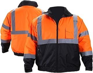 FONIRRA Hi-Viz Safety Jacket for Men with Reflective Liner,Waterproof 100% Polyester ANSI Class 3 Full Zipper Bomber Work Jacket Hoodie(Orange,4XL)