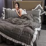 Bettwäsche-Sets Tröster Protector grau Doppel gekräuselte Seersucker-Spitze Bettbezug für Mädchen Tagesdecke Bettrock Bettwäsche Teen 1,5 m Bett 200 * 230 cm 4 Stück