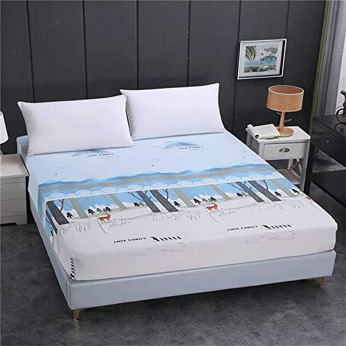 DJNCIA Home 1 funda de colchón elástica ajustable con impresión de alta calidad, 100% poliéster, tamaño personalizable. Calidad del hotel (color: Jinglingtiandi, tamaño: 150 x 200 x 26 cm)
