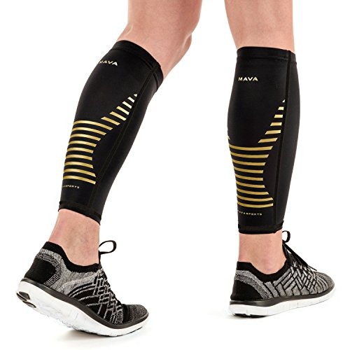 Mava Sports Calf Sleeves Compression (Pair), Leg Compression Calf Sleeve for Runners, for Men & Women, Unisex (Gold, Medium)