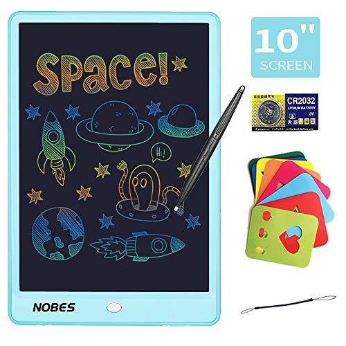 NOBES Tableta de Escritura LCD 10 Inch, LCD Tablero de Dibujo Gráfica, Pizarra Magica para niños, Juguetes Educativo, Mensaje Doodle Pad Electrónico, para Niños, Clase, Oficina, Casa (Azul Colorido)
