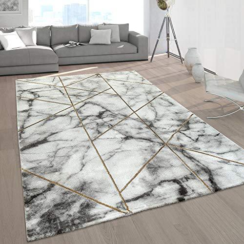 Paco Home Tapis Poil Ras Gris Doré Doux Salon Aspect Marbré Différents Designs, Dimension:120x170 cm, Couleur:Or 4