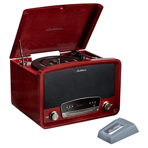 Electrohome Kingston 7-in-1 Vintage Vinyl Record Player Stereo System with 3-Speed Turntable, Bluetooth, AM/FM Radio, CD, Aux in, RCA/Headphone Out with 2 Bonus Replacement Needles (RR75C)