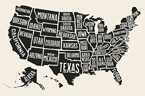 EzPosterPrints - USA Maps with States Details Posters - Poster Printing - Wall Art Print for Home School, Classroom, Office Decor - Black and White - 36X24 inches