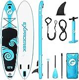 Exprotrek Stand Up Paddling Board, aufblasbares SUP Board, Stand Up Paddle Board Set, 6 Zoll dick für alle Schwierigkeitsgrade mit Paddel und komplettem Zubehör (150KG MAX)