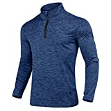 KEFITEVD Men's Spring 1/4 Zip Sports Tops Casual Long Sleeve Gym Running Polo Shirts Outdoor Warm Sports Shirts Navy Blue