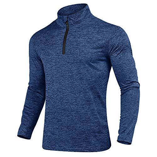 KEFITEVD Langarmshirt Herren mit Fleece Pullover Half Zip Freizeitshirt Weich Longsleeve Warm Wandern Jagd Radshirt Outdoor Kleidung Casual T-Shirt Blau L