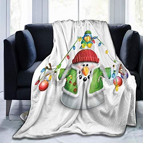 Ultra-Soft Fleece Blanket for Adult Anti Fleece Blanket,Cartoon Whimsical Character with Christmas Garland Blue Bird Various Xmas Elements,Soft Comfortable Sofa Throw Blanket 80'x60'