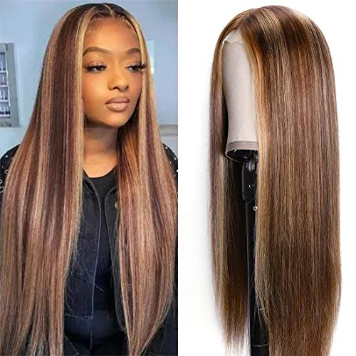 Nadula Highlight Straight Silk Base Fake Scalp T Part Lace Front Human Hair Wig Honey Blonde Brown Pre Plucked with Baby Hair Brazilian Remy Hair Natural Wigs Middle Part For Women 150% Density (14 inch)