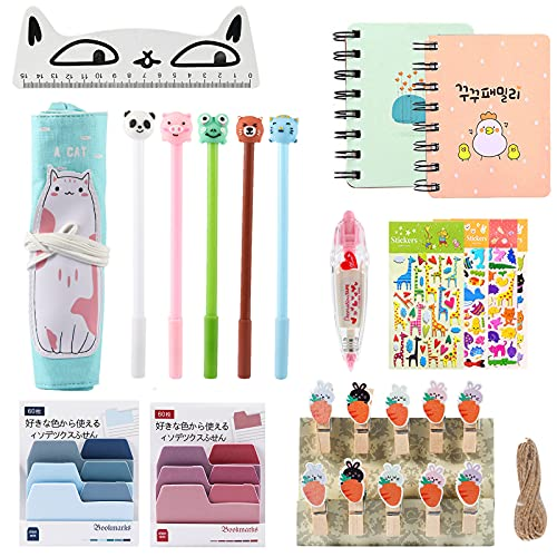 18 Pcs Cute Stationery for Girls, Amycute Canvas Pencil Roll Wood Kawaii Ruler Notepad Ballpoint Pen Stationary Gift Sets School Supplies for Girls Kids Children (Style 1)
