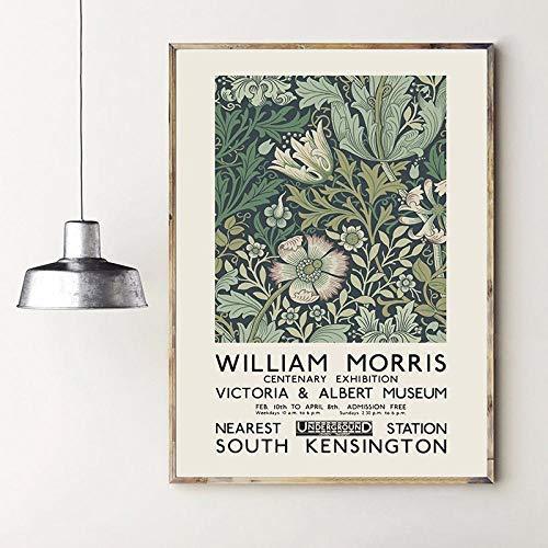 VVSUN William Morris Leinwanddruck Das Ausstellungsplakat des Victoria and Albert Museum London Underground Jugendstil-Wanddekoration / 50x70cm (ohne Rahmen)