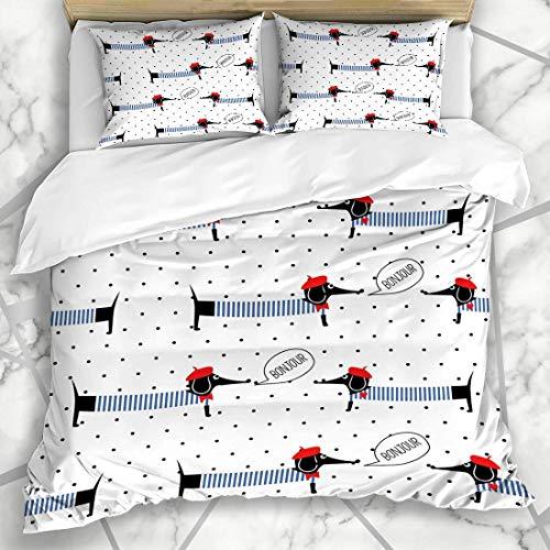 Conjuntos de funda nórdica Sombrero Patrón azul marino Perros franceses que dicen Bonjour Paris Dachshund Boy Bebé Francia Impresionante vestido de microfibra con ropa de cama con 2 fundas de