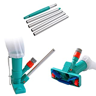 POOLWHALE Portable Pool Vacuum Jet Underwater Cleaner W/Brush,Bag,4 Section Pole of 48