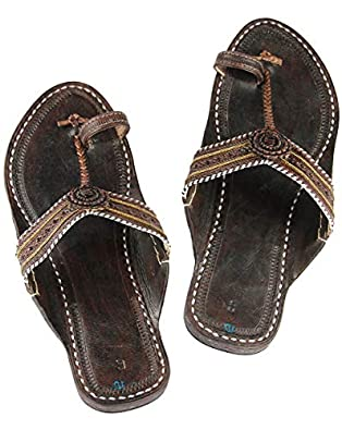 KALAPURI Womens Comfortable Cusioned Kolhapuri Chappal in Genuine Leather with Black Pointed Shape Base and Traditional Broad Punching Upper. Handmade in Kolhapur