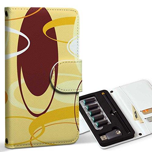 スマコレ ploom TECH プルームテック 専用 レザーケース 手帳型 タバコ ケース カバー 合皮 ケース カバー 収納 プルームケース デザイン 革 フラワー 模様 オレンジ 黄色 003912