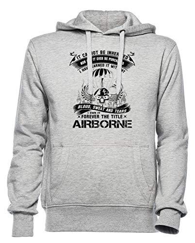 Airborne Infantry Mom Airborne Jump Wings Airborne Badge Airborne Brot Hombre Mujer Unisexo Sudadera con Capucha Gris Tamaño XXXL - Women's Men's Unisex Hoodie Sweatshirt Grey