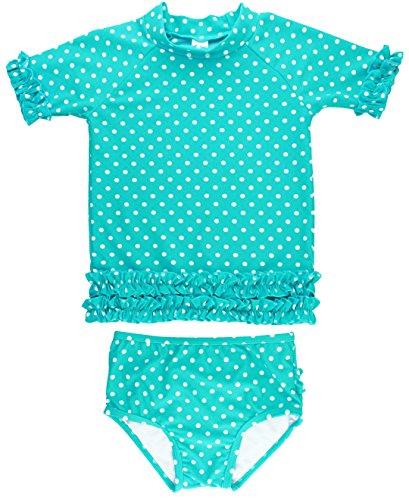 RuffleButts Baby/Toddler Girls Rash Guard 2-Piece Swimsuit Set - Aqua Polka Dot Bikini with UPF 50+ Sun Protection - 6-12m