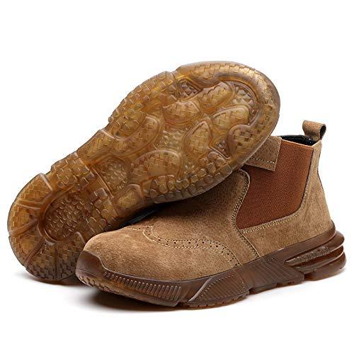 Zapatos de Seguridad para Hombre Mujer, Botas con Punta de Acero para Hombre,Botas de Trabajo Sin Cordones para Mujer Calzado de Construcción Duradero,Brown-41