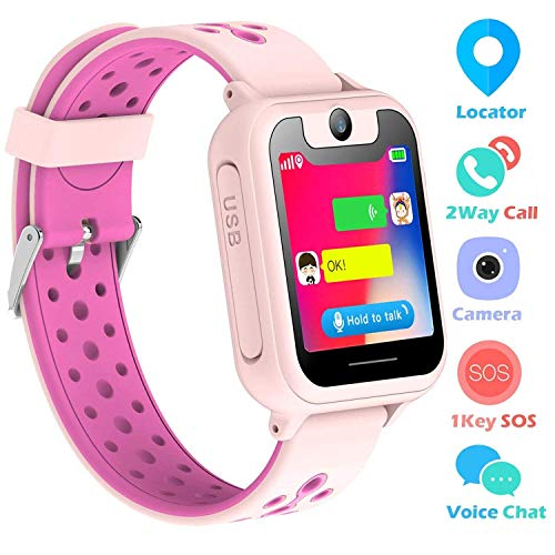 Supoggy Kids Smart Watch Phone LBS Tracker Smart Watch para niños de 3 a 12 años Niños SOS Cámara Pantalla táctil Juego Actividad al Aire Libre Juguetes Regalo para niños para iOS/Android (Rosa)
