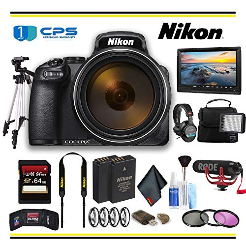 Nikon COOLPIX P1000 Digital Camera (26522) Professional Bundle W/Bag, Extra Battery, LED Light, Mic, Filters, Tripod, Monitor and More - (International Model)