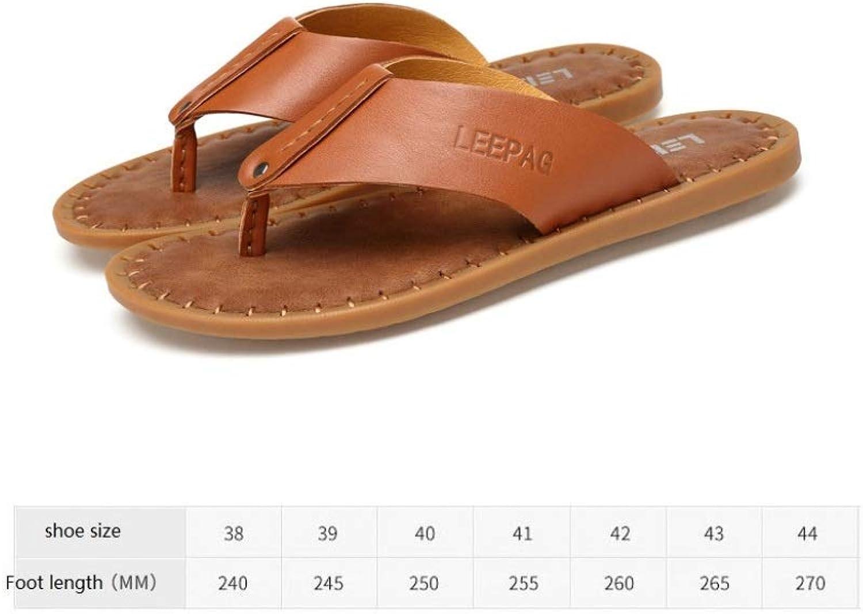 WJP Men's flip-Flops, Leather Thong Sandals, Summer Outdoor Sandals, Lightweight Non-Slip Indoor Soft Slippers Brown   41