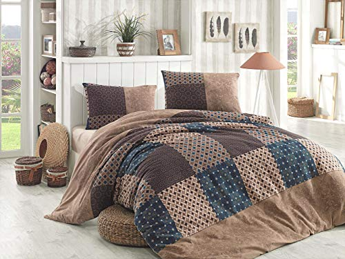 My Palace Fein-Biber Bettwäsche 3-teilig 200x220cm + 2 x 80x80cm, 100% Baumwolle Bettdeckenbezug und Zwei Kissenbezüge Bettgarnitur optimal für Herbst und Winter, Braun Flanell