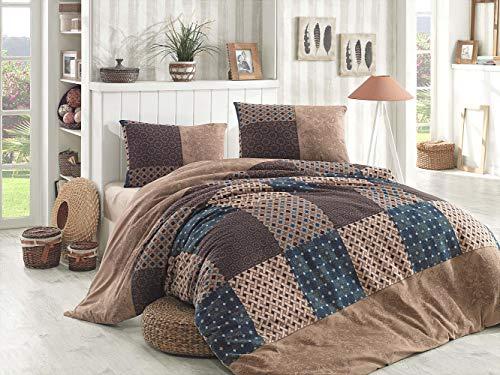 MyPalace Fein-Biber Bettwäsche 3-teilig 200x220cm + 2 x 80x80cm, 100% Baumwolle Bettdeckenbezug und Zwei Kissenbezüge Bettgarnitur optimal für Herbst und Winter, Braun Flanell