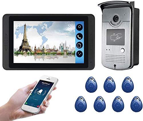 JWCN Intercomunicador de vídeo inalámbrico con abridor de puerta Monitor de 7 pulgadas Cable de timbre Videofón HD Cámara Soporte Desbloquear kyman Uptodate