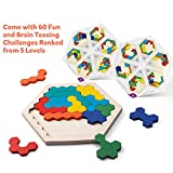 Coogam Wooden Hexagon Puzzle for Kid Adults - Shape Pattern Block Tangram Brain Teaser Toy Geometry Logic IQ Game STEM Montessori Educational Gift for All Ages Challenge