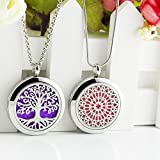 2 Styles Lademayh Essential Oils Diffuser Necklace Lockets for Women Men Stainless Steel Pendant...