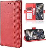 Nord caso Flip Wallet Compatible con OnePlus Nord, funda para teléfono 1+nord casos con ranuras para tarjetas Protector parachoques 6.44 pulgadas (rojo)