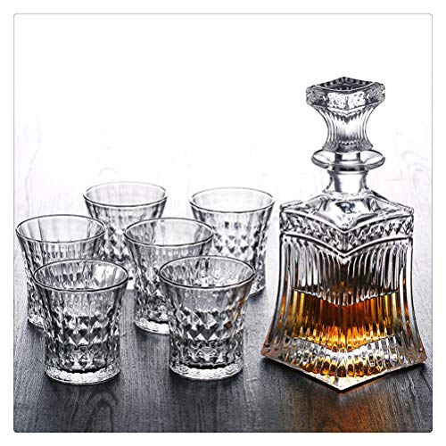 Yousiju Juego de Vino Europeo, Copas de Vino 1 decantador + 4 Whisky Hermosa Copa de Cristal Edición de Botella Cristal de Lujo sin Plomo