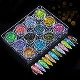 cheap4uk 12 Colores Nail Dip Powder Kit Nail Art Starter Set Polvo de Brillo de uñas de Color Unicornio para Arte de uñas Maquillaje Regalo de año Nuevo